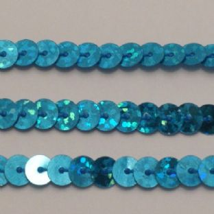 6mm Turquoise Hologram Strung Sequin Trim x 5 metres